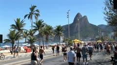 Crowded Beach Sidewalk In Rio De Janeiro, Brazil 6 Stock Footage