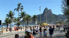 Crowded Beach Sidewalk In Rio De Janeiro, Brazil 7 Stock Footage