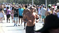 Crowds of People Jogging and Walking On the Beach In Rio De Janeiro, Brazil Stock Footage