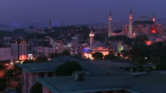 The Hagia Sophia Mosque in istanbul Turkey and the skyline in the distance. - stock footage