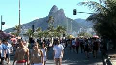 Crowded Beach Sidewalk In Rio De Janeiro, Brazil 5 Stock Footage