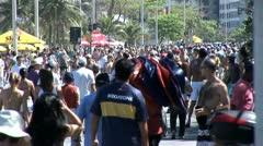 Crowded Beach Sidewalk In Rio De Janeiro, Brazil Stock Footage