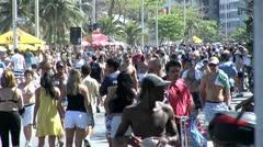 Crowded Beach Sidewalk In Rio De Janeiro, Brazil 3 Stock Footage