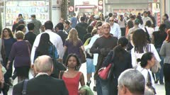 People and Rush Hour Traffic in the   Background in Sao Paulo, Brazil - stock footage