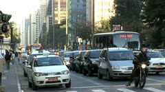 Extremely Busy Sao Paulo Intersection 2 Stock Footage