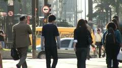 Pedestrians in Centro De Sao Paulo, Brazil Stock Footage