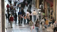 Aerial View of People in Centro de Sao Paulo, Brazil Stock Footage