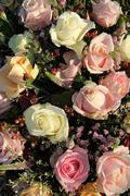 wedding flowers: different shades of pink roses - stock photo