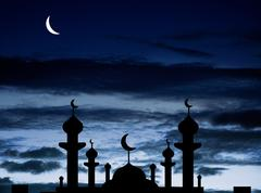 half moon and a mosque - stock photo