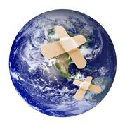 Wounded earth with bandaid Stock Illustration
