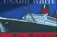 Stock Video Footage of Cunard White Star ship poster of The Queen Mary