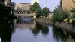 RIVERSIDE Canal Street Scene WEST BERLIN 1970s Vintage Film Home Movie 4349 Stock Footage