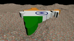 Indian map flag in abstract ocean of Rupees animation Stock Footage