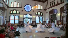 Whirling dervishes perform a mystical dance in Istanbul, Turkey. Stock Footage
