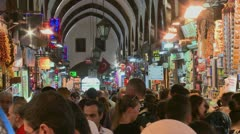 The crowded interior of the Grand Bazaar in istanbul, Turkey. Stock Footage
