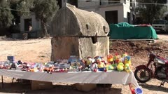 Toys stall and tomb Stock Footage