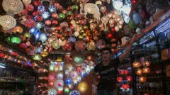 Multicolored lamps and lights in a store in Istanbul, Turkey. Stock Footage