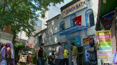 Exterior of a Turkish bathhouse in Istanbul, Turkey. Stock Footage