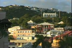 St. Thomas, The Virgin Islands, houses on the hillside, magic hour Stock Footage