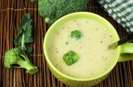 Green cream broccoli soup Stock Photos