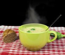 green cream broccoli soup - stock photo