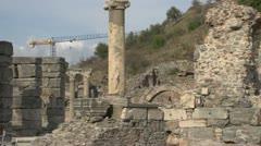 History & culture, Ephesus ruins, columns constr crane Stock Footage