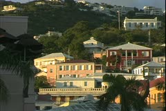 St. Thomas, The Virgin Islands, houses on the hillside, magic hour, pan right Stock Footage