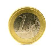 Scratched old one euro coin Stock Photos