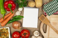 notebook to write recipes - stock photo