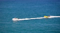 Fast motorboat with flyfish, water fun, Spain - stock footage