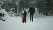 Children on ski with grandad Stock Footage