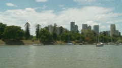 Skyscrapers in Brisbane (river shot) Stock Footage