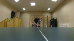 Sportsman playing pingpong, timelapse Stock Footage