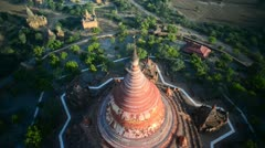 Stock Video Footage of Bagan, Myanmar. Balloon flight over historical buddhist temple