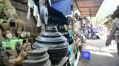 Market selling ancient and daily wares in rural Burma - stock footage
