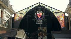 La Boqueria market in Barcelona Stock Footage