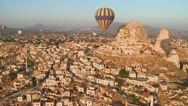 A high angle of hot air balloons flying over the ancient region of Cappadocia, Stock Footage