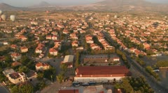 An aerial perspective over a neighborhood. Stock Footage