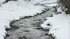 Water flow in snowy landscape Stock Footage