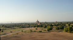 Bagan, Myanmar, panning shot of ancient city Stock Footage