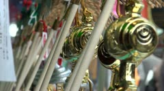 Souvenirs for sale at the Sensoji temple complex in Tokyo Stock Footage