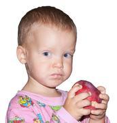 boy with apple - stock photo