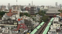 Magnificent temple complex and skyline of Tokyo, Japan Stock Footage
