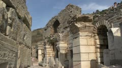 History & culture, Ephesus ruins, pillars and large walls Stock Footage