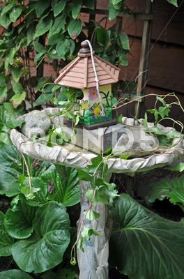 Stock photo of Birdbath and birdhouse