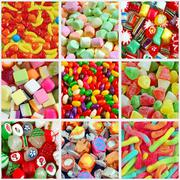 Colorful candy collage Stock Photos