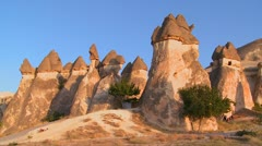 Bizarre geological formations at Cappadocia, Turkey. - stock footage