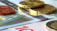 Euro Coins And Banknotes. Stock Footage