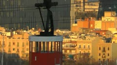 Barcelona Pan shot of City Cable car Stock Footage