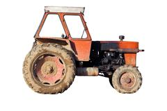 Isolated old tractor Stock Photos